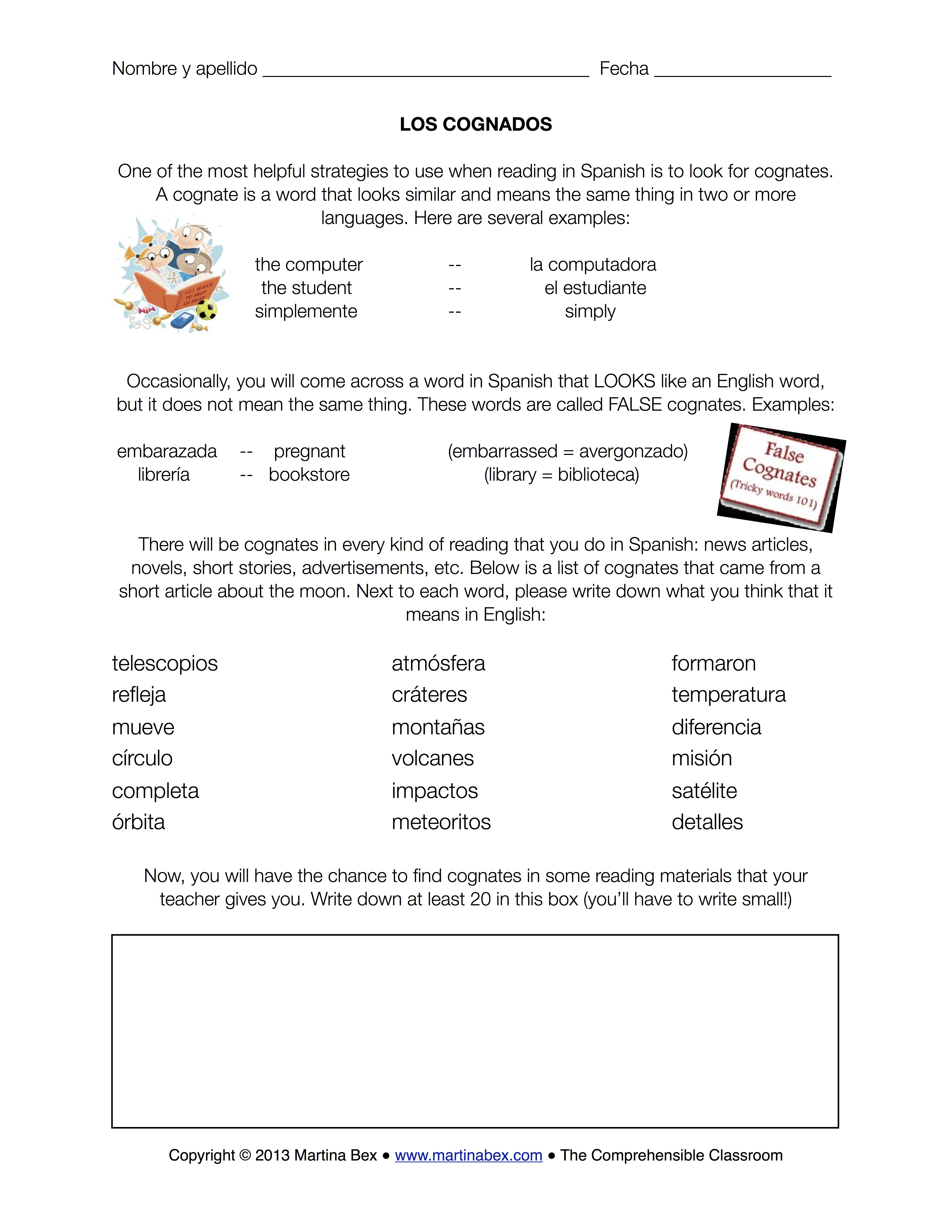 Uncategorized English To Spanish Worksheets cognates lessons tes teach a good sub plan the comprehensible classroom