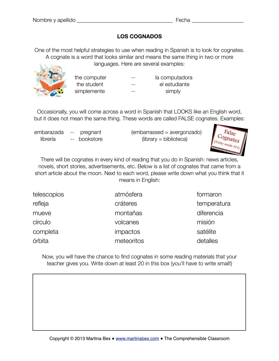 Free Worksheet 9th Grade Spanish Worksheets cognates in spanish worksheet delibertad a good sub plan the comprehensible classroom