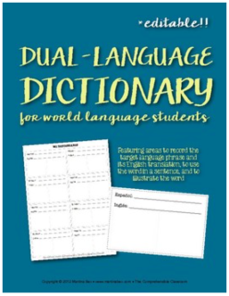 Dual language dictionary for world language classes