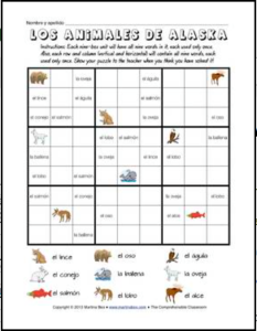 alaskan animals wordoku spanish