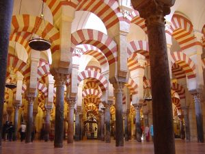 This is an image of the mosque in Cordoba, Spain that I found on Wikimedia Commons.  This photo was taken by Timor Espallargas on 29 December 2004 and is licensed under the Creative Commons Attribution-Share Alike 2.5 Generic license. http://upload.wikimedia.org/wikipedia/commons/1/15/Mosque_Cordoba.jpg