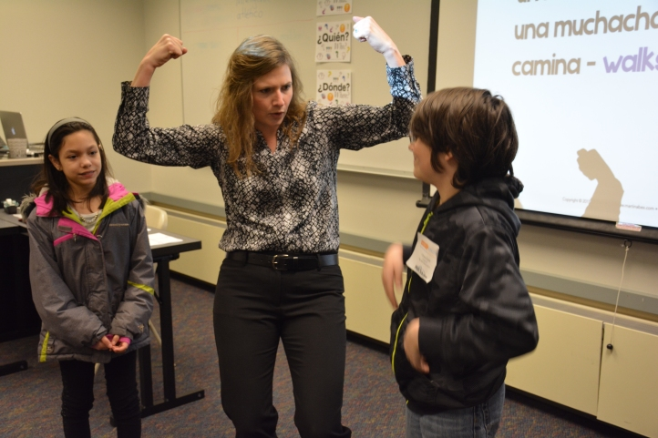 Using gestures is a great way to support comprehension--just make sure that you establish meaning FIRST! And...a cognate isn't a cognate unless you can read it: write your cognates on the board, because an untrained ear can't hear the connection between L1 and L2. In this case, I used the cognate