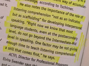 Cutshall, S. (2015) . Groundbreaking Study from ACTFL Measures Listening and Reading--Expands Understanding of Interpretive Skills. The Language Educator, 10 (3), 10-12.