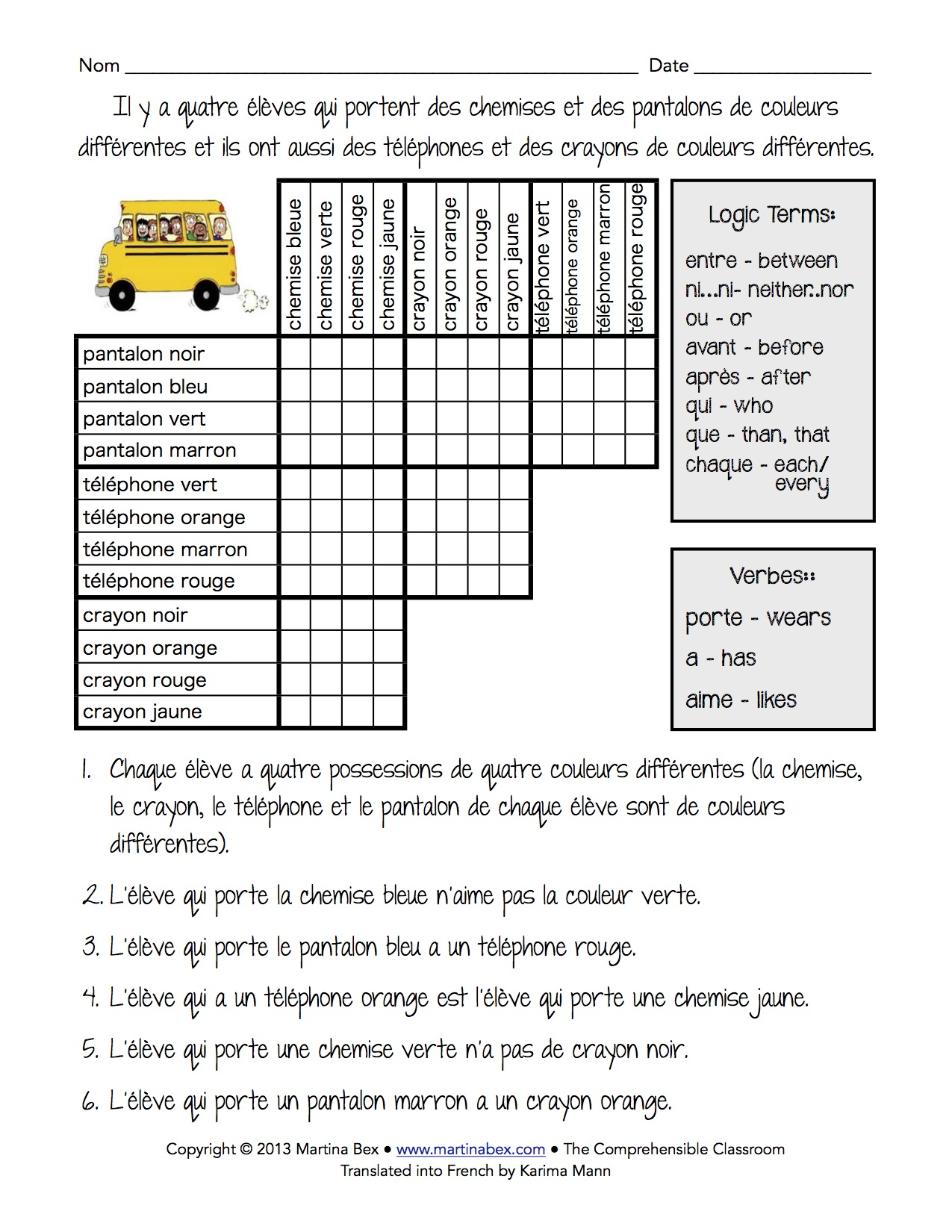 Logic puzzle in French – The Comprehensible Classroom