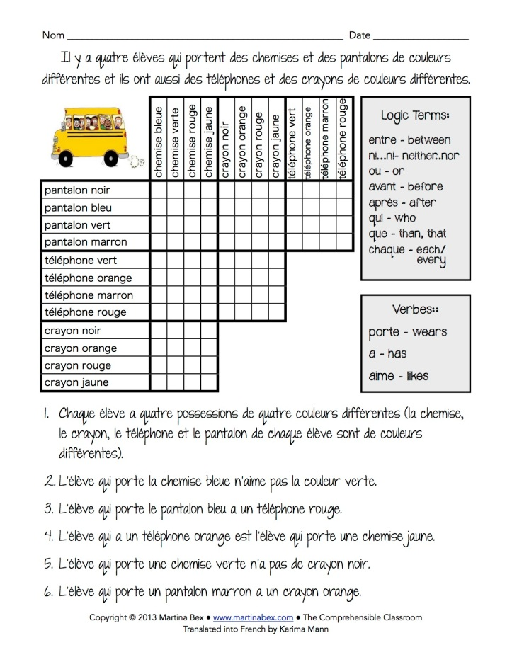 logic puzzle in french the comprehensible classroom. Black Bedroom Furniture Sets. Home Design Ideas