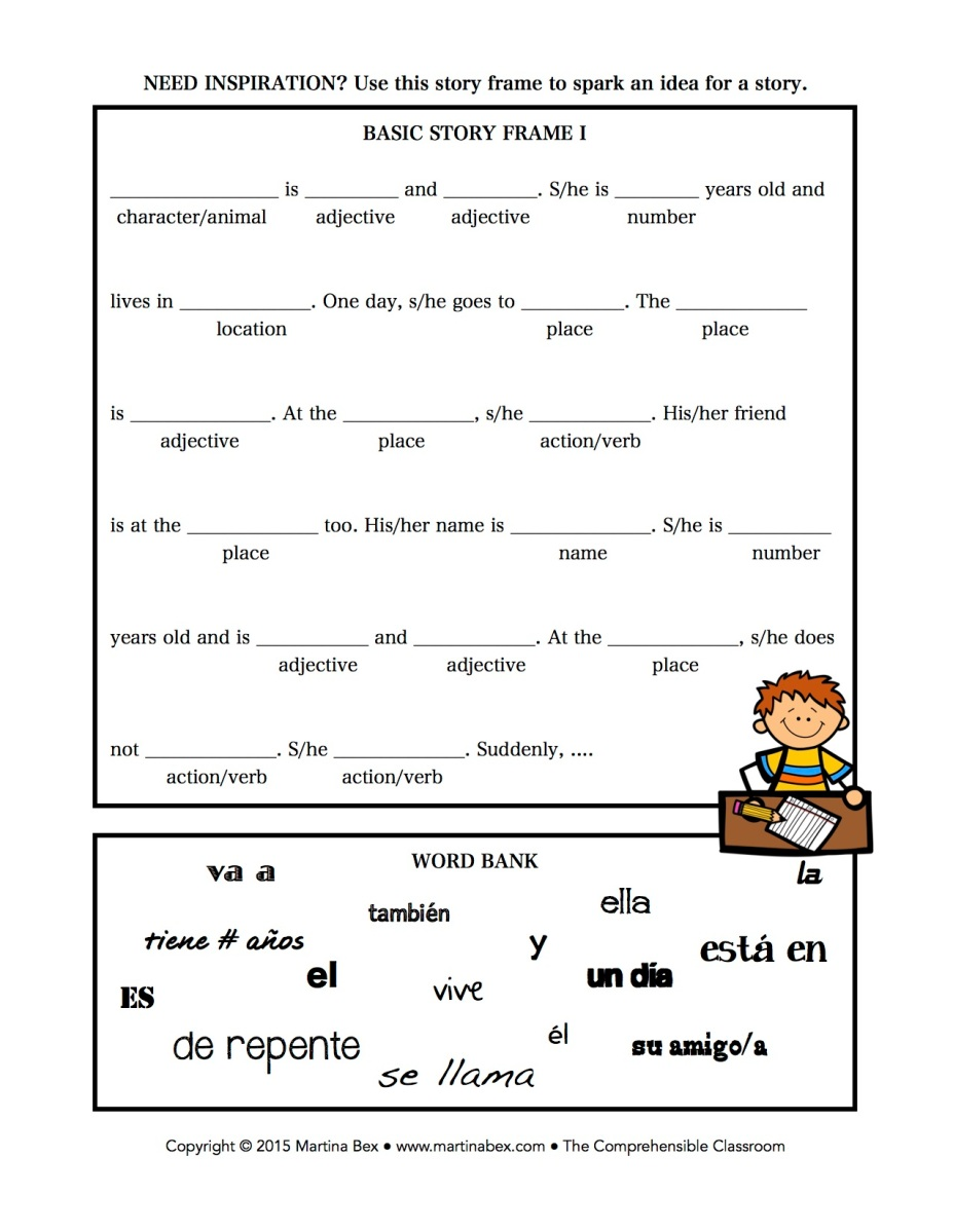 Story Frames For Free Writes The Comprehensible Classroom