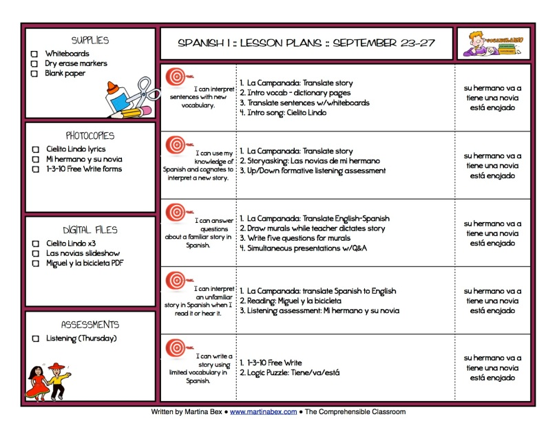 Week at a glance Martina Bex the comprehensible classroom