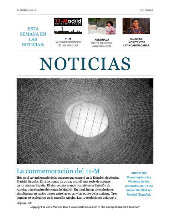 Noticias 03.11.2016 from The Comprehensible Classroom