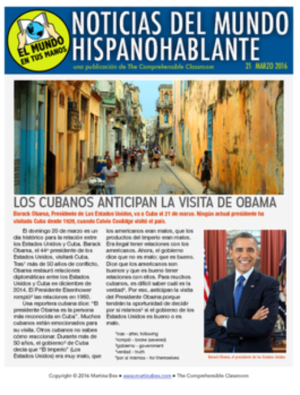 Weekly news summaries in Spanish for Spanish students