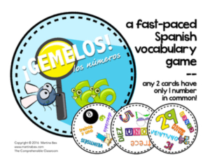 GEMELOS modeled after SPOT IT, practice numbers in Spanish