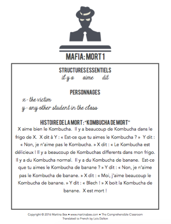 French scripts for the role-playing game MAFIA in beginning French classes