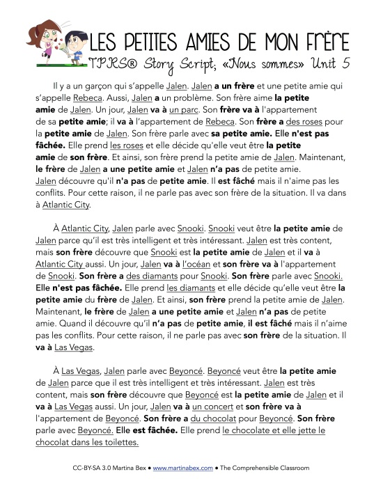 Les petites amies de mon frère TPRS® story script in French from www.martinabex.com