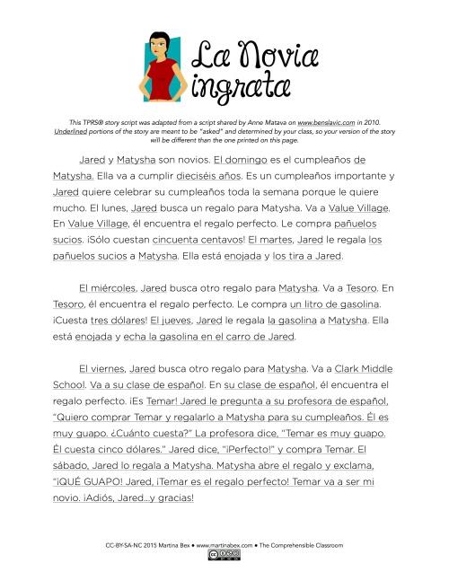 La novia ingrata TPRS® story script