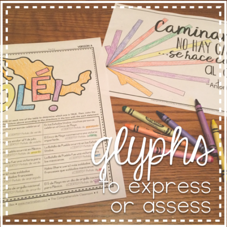 How you can use glyph activities to allow your students to express meaning or to assess their understanding - ideas from The Comprehensible Classroom