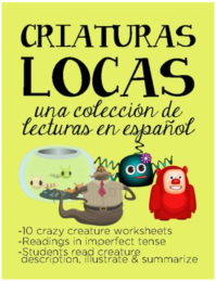 10 descriptions in Spanish of imaginary creatures that lived long ago- imperfect tense for Spanish classes