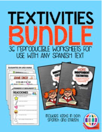 36 reproducible worksheets for Spanish classes that you can assign with any text or for independent study
