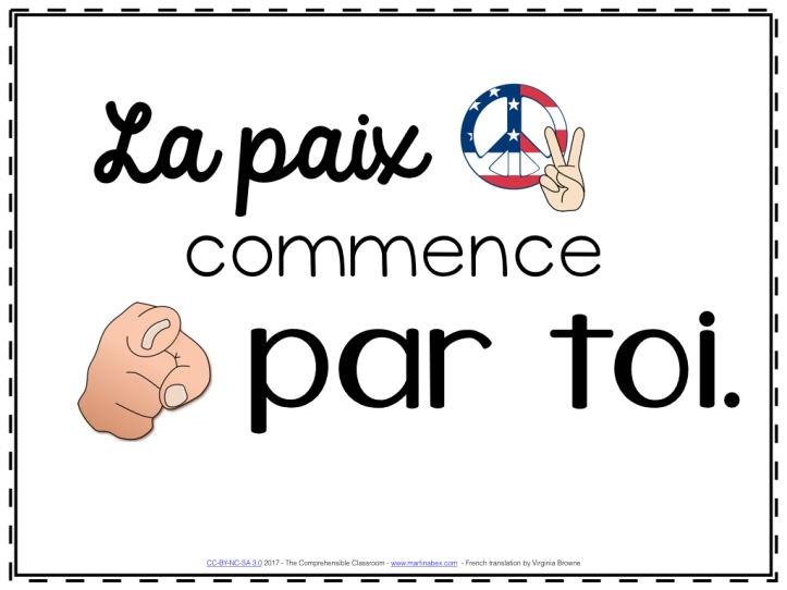 La paix commence par toi slideshow for week 1 of French classes from www.martinabex.com