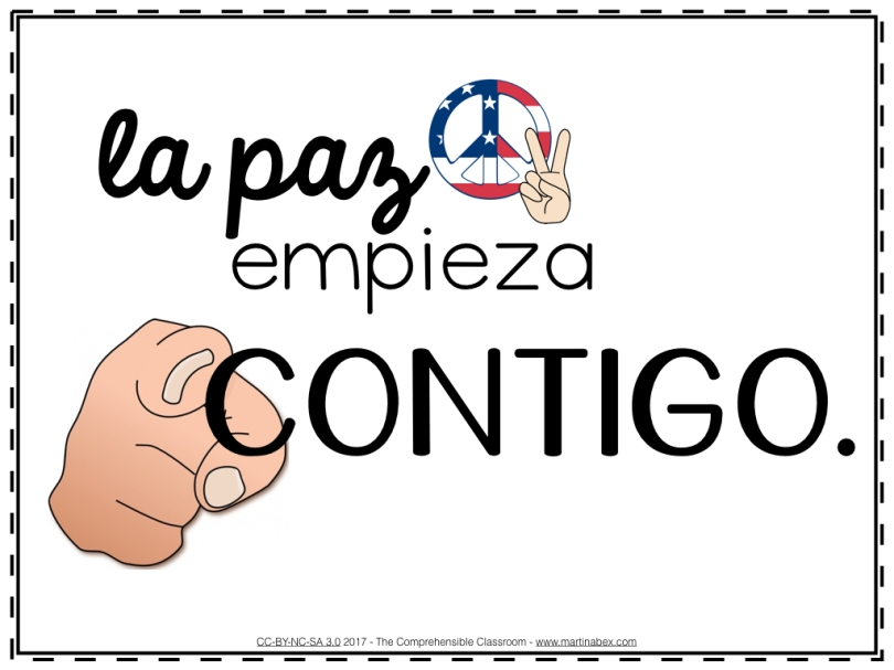 La paz empieza contigo presentation for day 1 of spanish shared by the comprehensible classroom