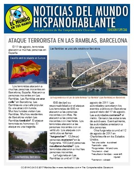 Terrorist attack in Barcelona summarized in simple Spanish for Spanish 1 students from The Comprehensible Classroom August 17 terrorist attacks in Las Ramblas