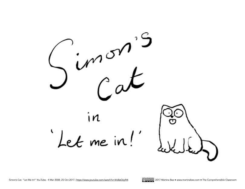 Resources for Simon's Cat LET ME IN MovieTalk in Spanish from The Comprehensible Classroom for Spanish students