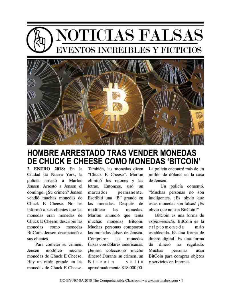 Noticias falsas - Bitcoin fake news story in Spanish for novices